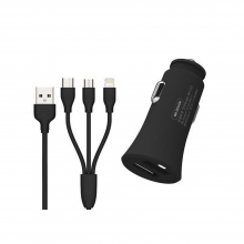 Car Charger WK 2.4A USBx2 With 3in1 charging cable Black WP-C13