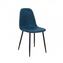 Καρέκλα Bella pakoworld μεταλλική μαύρη με pu antique σκούρο μπλε    + Δώρο Γάντια Εργασίας(Εως 6 Άτοκες ή 60 Δόσεις)