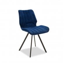Καρέκλα Sabia pakoworld μεταλλική μαύρη με ύφασμα βελουτέ σκούρο μπλε    + Δώρο Γάντια Εργασίας(Εως 6 Άτοκες ή 60 Δόσεις)