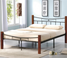 Κρεβάτι Διπλό E8026 FLORA 160x200cm Μεταλ.Μαύρο - Ξύλο Καρυδί (ΕΩΣ 6 ΑΤΟΚΕΣ ή 60 ΔΟΣΕΙΣ)