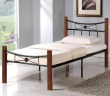 Κρεβάτι Μονό FLORA E8025 100x200cm Μεταλ.Μαύρο Ξύλο Καρυδί (ΕΩΣ 6 ΑΤΟΚΕΣ ή 60 ΔΟΣΕΙΣ)