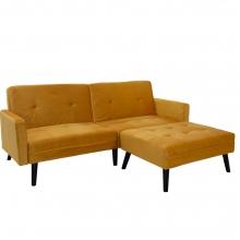 Γωνιακός καναπές-κρεβάτι με σκαμπό Dream pakoworld κίτρινο βελούδο    + Δώρο Γάντια Εργασίας(Εως 6 Άτοκες ή 60 Δόσεις)
