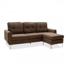 Γωνιακός καναπές Ballon pakoworld αναστρέψιμος υφασμάτινος χρώμα καφέ    + Δώρο Γάντια Εργασίας(Εως 6 Άτοκες ή 60 Δόσεις)