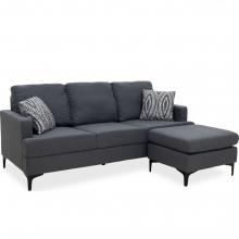 Γωνιακός καναπές με σκαμπό Slim pakoworld υφασμάτινος χρώμα ανθρακί με μαξιλάρια    + Δώρο Γάντια Εργασίας(Εως 6 Άτοκες ή 60 Δόσεις)