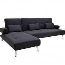 Γωνιακός καναπές κρεβάτι Luxury pakoworld με μαύρο ύφασμα    + Δώρο Γάντια Εργασίας(Εως 6 Άτοκες ή 60 Δόσεις)