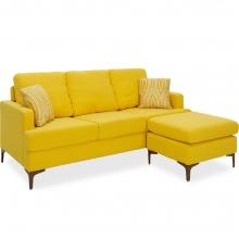 Γωνιακός καναπές με σκαμπό Slim pakoworld υφασμάτινος χρώμα κίτρινο με μαξιλάρια    + Δώρο Γάντια Εργασίας(Εως 6 Άτοκες ή 60 Δόσεις)