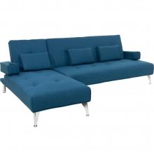 Γωνιακός καναπές κρεβάτι Luxury pakoworld σε μπλε ύφασμα    + Δώρο Γάντια Εργασίας(Εως 6 Άτοκες ή 60 Δόσεις)
