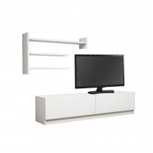Σύνθετο σαλονιού MARTIN TV pakoworld σε χρώμα λευκό    + Δώρο Γάντια Εργασίας(Εως 6 Άτοκες ή 60 Δόσεις)