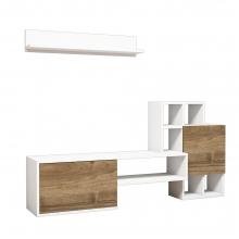 Σύνθετο σαλονιού Rinaldo Tv pakoworld σε χρώμα λευκό-καρυδί    + Δώρο Γάντια Εργασίας(Εως 6 Άτοκες ή 60 Δόσεις)